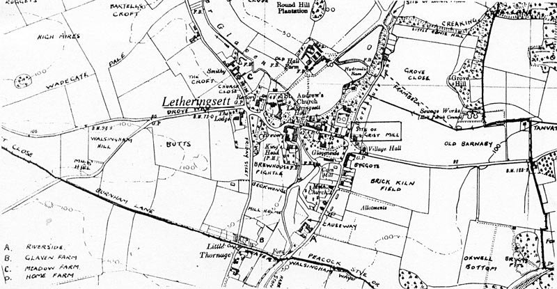 Map of Letheringsett showing details of the village c.1760