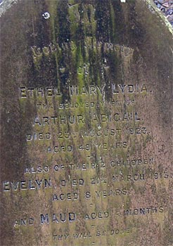 Gravestone of Evelyn Abigail