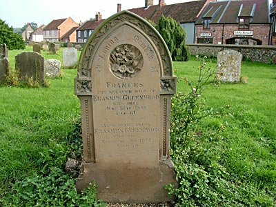 Gravestone of Erasmus Greenwood
