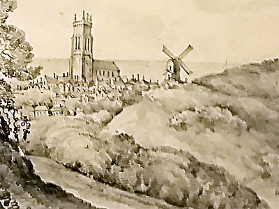 Cromer Church & Mill from the Holt Road by Louise Hoare c.1830