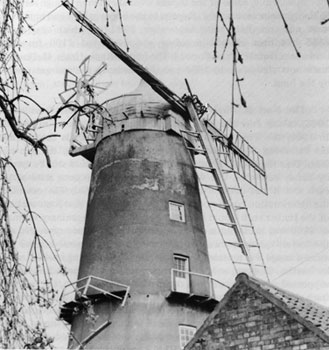 Mill after sail had blown off showing damaged stage