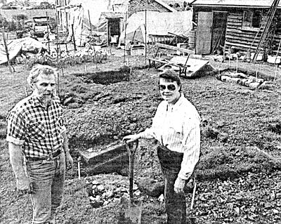 Terry & Mary King excavating the mill foundations - April 1989