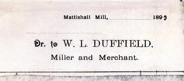 William Lant Duffield invoice heading 1893