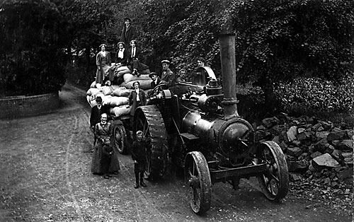 Traction engine entering mill yard c.1912