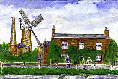 Painting by William Smith depicting the mill in 1900