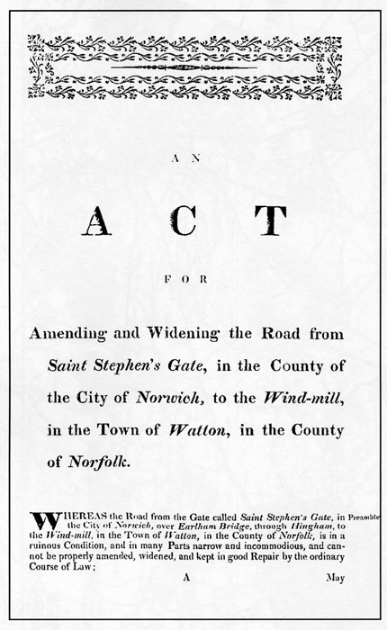 Norwich to Watton Turnpike Act 1770