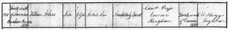 Barnham Broom W. Atkins DC 26Nov1839