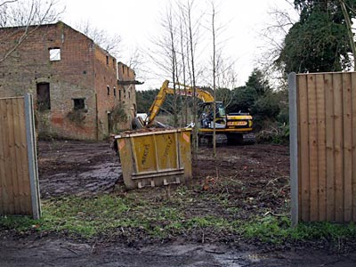 Site clearance around the granary in progress 5th January 2008