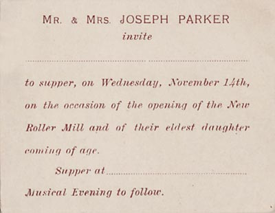 Roller mill invitation November 1906