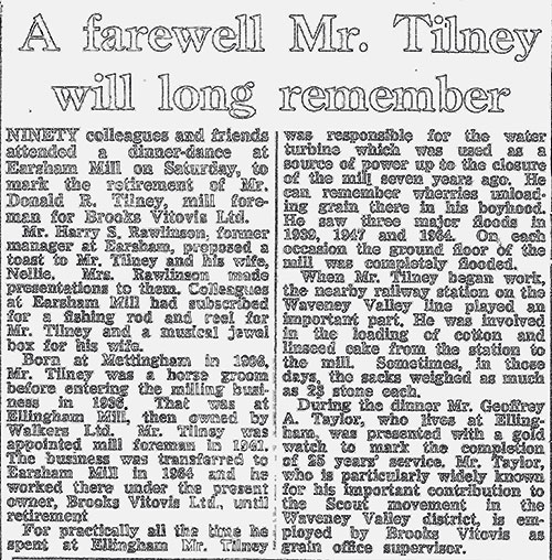 Mill Foreman Don Tilney's retirement - newspaper report