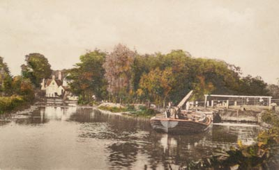 A wherry and the lock with the mill in the distance c.1910