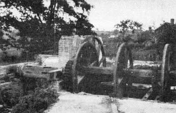 Waterwheel axle (left) and main drive c.1927