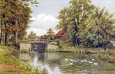 Coltishall lock c.1910 - painting on postcard by A. R. Quinton