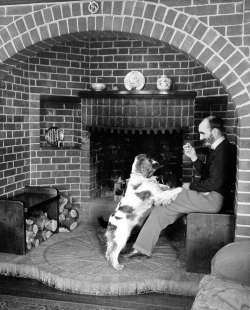 The fireplace alcove in the 1960s with a section of the pit wheel over the fire
