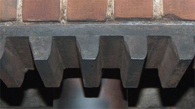 Pitwheel teeth showing wear from contact with the wallower