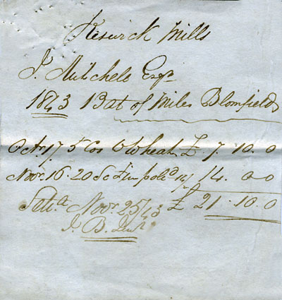Bill from Miles Blomfield - 25th November 1843