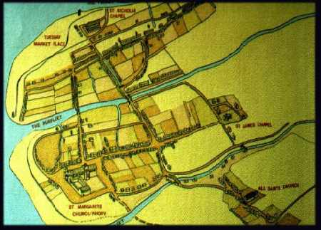Map of Kings Lynn in 1240