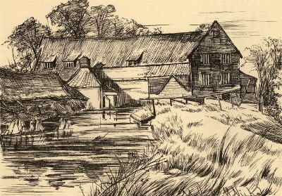 Drawing of the mill dam by Catherine Maude Nichols c.1886