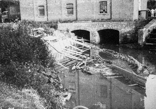 Bank reconstruction below the mill - 1982