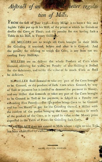 New mill regulations June 1756 found on toybox lid