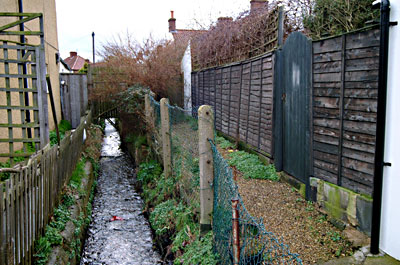 The beck to the rear of the buildings - January 2003