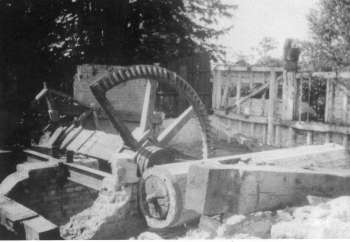 Remains of waterwheel axle and upright shaft in 1949